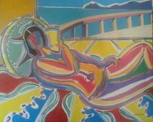 Jose Luis Veiras Manteiga. Lectora cara o mar.Acrilico sobre lienzo. 1 x 81